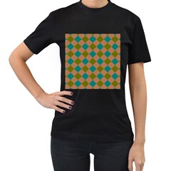 Plaid Box Brown Blue Women s T-shirt (black)