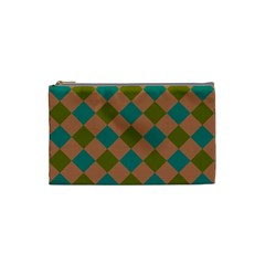 Plaid Box Brown Blue Cosmetic Bag (small)  by Jojostore