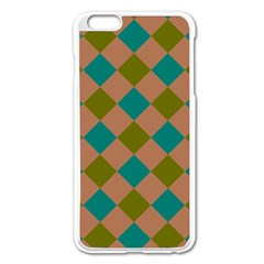 Plaid Box Brown Blue Apple Iphone 6 Plus/6s Plus Enamel White Case