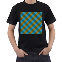 Plaid Line Brown Blue Box Men s T-shirt (black) (two Sided) by Jojostore