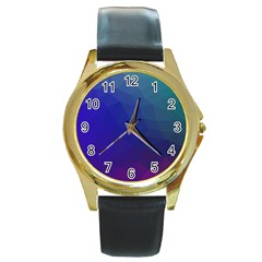 Polyart Dark Blue Purple Pattern Round Gold Metal Watch by Jojostore