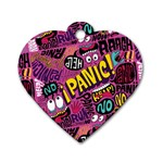 Panic Pattern Dog Tag Heart (One Side) Front