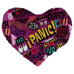 Panic Pattern Large 19  Premium Flano Heart Shape Cushions by Jojostore