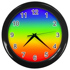 Rainbow Blue Green Pink Orange Wall Clocks (black) by Jojostore