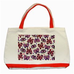 Pink Purple Butterfly Classic Tote Bag (red) by Jojostore