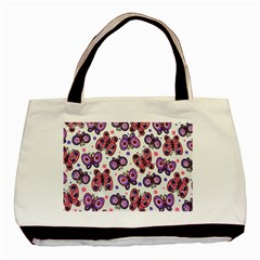 Pink Purple Butterfly Basic Tote Bag (two Sides) by Jojostore