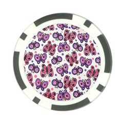 Pink Purple Butterfly Poker Chip Card Guards (10 Pack)