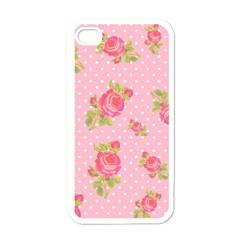 Rose Pink Apple Iphone 4 Case (white) by Jojostore