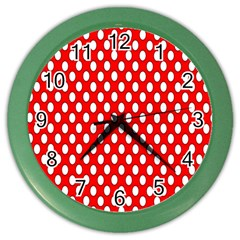 Red Circular Pattern Color Wall Clocks by Jojostore
