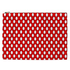Red Circular Pattern Cosmetic Bag (xxl)  by Jojostore