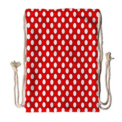 Red Circular Pattern Drawstring Bag (large)