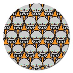 Sitpersian Cat Orange Magnet 5  (round) by Jojostore