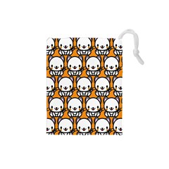 Sitwhite Cat Orange Drawstring Pouches (small)