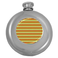 Striped Pictures Round Hip Flask (5 Oz)