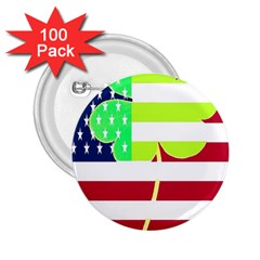Usa Ireland American Flag Shamrock Irish Funny St Patrick Country Flag  2 25  Buttons (100 Pack)  by yoursparklingshop