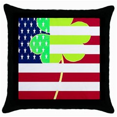 Usa Ireland American Flag Shamrock Irish Funny St Patrick Country Flag  Throw Pillow Case (black) by yoursparklingshop