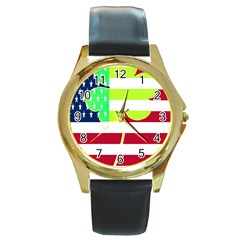 Usa Ireland American Flag Shamrock Irish Funny St Patrick Country Flag  Round Gold Metal Watch