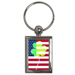 Usa Ireland American Flag Shamrock Irish Funny St Patrick Country Flag  Key Chains (rectangle)  by yoursparklingshop