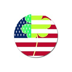 Usa Ireland American Flag Shamrock Irish Funny St Patrick Country Flag  Magnet 3  (round) by yoursparklingshop