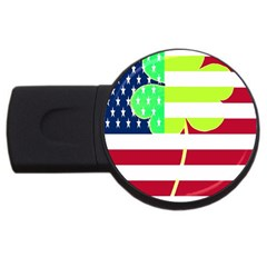 Usa Ireland American Flag Shamrock Irish Funny St Patrick Country Flag  Usb Flash Drive Round (2 Gb)  by yoursparklingshop