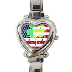 Usa Ireland American Flag Shamrock Irish Funny St Patrick Country Flag  Heart Italian Charm Watch