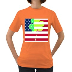 Usa Ireland American Flag Shamrock Irish Funny St Patrick Country Flag  Women s Dark T Shirt
