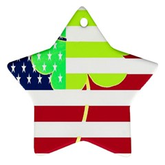 Usa Ireland American Flag Shamrock Irish Funny St Patrick Country Flag  Star Ornament (two Sides)  by yoursparklingshop