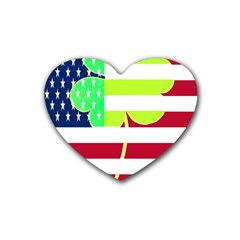 Usa Ireland American Flag Shamrock Irish Funny St Patrick Country Flag  Heart Coaster (4 Pack)  by yoursparklingshop
