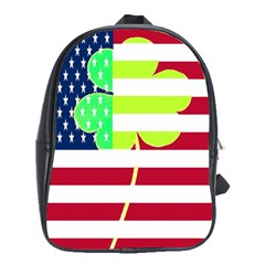 Usa Ireland American Flag Shamrock Irish Funny St Patrick Country Flag  School Bags(large)