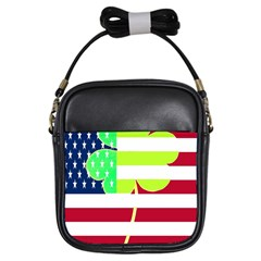Usa Ireland American Flag Shamrock Irish Funny St Patrick Country Flag  Girls Sling Bags by yoursparklingshop
