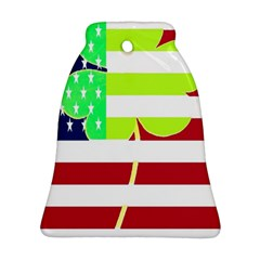 Usa Ireland American Flag Shamrock Irish Funny St Patrick Country Flag  Bell Ornament (2 Sides)