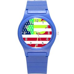 Usa Ireland American Flag Shamrock Irish Funny St Patrick Country Flag  Round Plastic Sport Watch (s) by yoursparklingshop