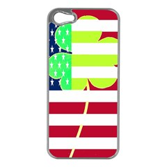 Usa Ireland American Flag Shamrock Irish Funny St Patrick Country Flag  Apple Iphone 5 Case (silver) by yoursparklingshop