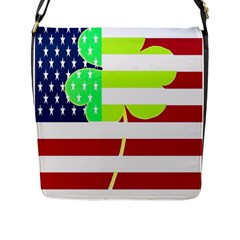Usa Ireland American Flag Shamrock Irish Funny St Patrick Country Flag  Flap Messenger Bag (l)  by yoursparklingshop