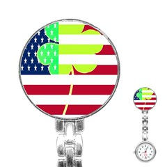 Usa Ireland American Flag Shamrock Irish Funny St Patrick Country Flag  Stainless Steel Nurses Watch by yoursparklingshop