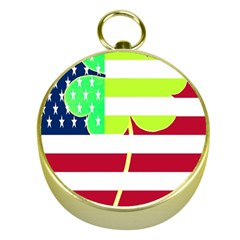 Usa Ireland American Flag Shamrock Irish Funny St Patrick Country Flag  Gold Compasses