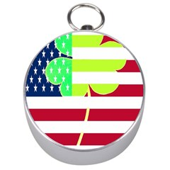Usa Ireland American Flag Shamrock Irish Funny St Patrick Country Flag  Silver Compasses by yoursparklingshop