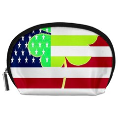 Usa Ireland American Flag Shamrock Irish Funny St Patrick Country Flag  Accessory Pouches (large)  by yoursparklingshop