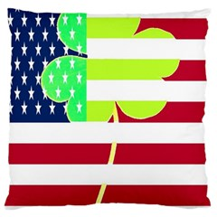 Usa Ireland American Flag Shamrock Irish Funny St Patrick Country Flag  Large Flano Cushion Case (two Sides) by yoursparklingshop