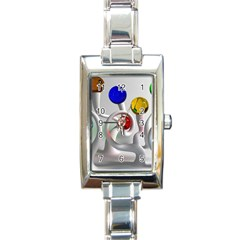 Colorful Glass Balls Rectangle Italian Charm Watch