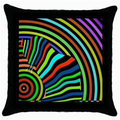 Colorful Cat Throw Pillow Case (black)