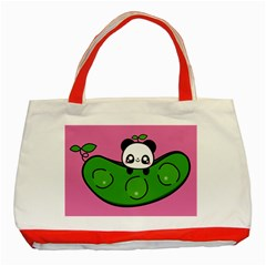 Edamame Panda Pink Cute Animals Classic Tote Bag (red)