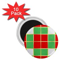 Christmas Fabric Textile Red Green 1 75  Magnets (10 Pack)