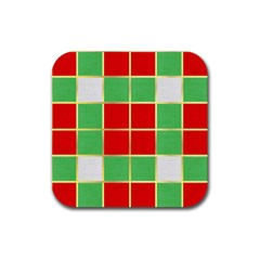 Christmas Fabric Textile Red Green Rubber Square Coaster (4 Pack)  by Jojostore