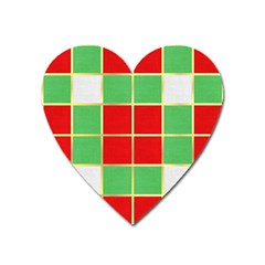 Christmas Fabric Textile Red Green Heart Magnet by Jojostore