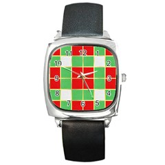 Christmas Fabric Textile Red Green Square Metal Watch by Jojostore