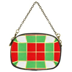 Christmas Fabric Textile Red Green Chain Purses (one Side)  by Jojostore