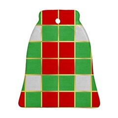 Christmas Fabric Textile Red Green Bell Ornament (2 Sides)