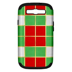 Christmas Fabric Textile Red Green Samsung Galaxy S Iii Hardshell Case (pc+silicone) by Jojostore