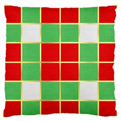 Christmas Fabric Textile Red Green Large Flano Cushion Case (one Side)